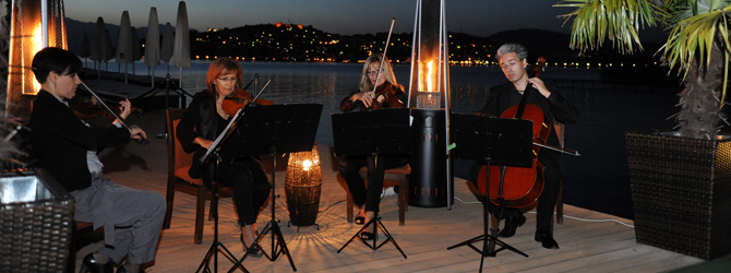 Charming music at the evening cocktail by the Ohrid Lake